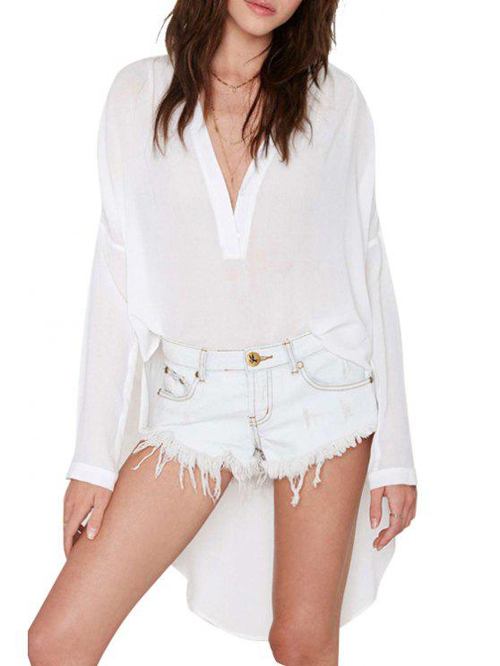 affordable White Chiffon Plunging Neck Long Sleeve Blouse - WHITE S