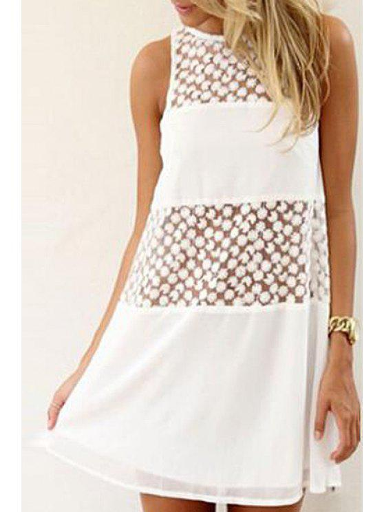 chic Chiffon Spliced See-Through White Dress - WHITE S