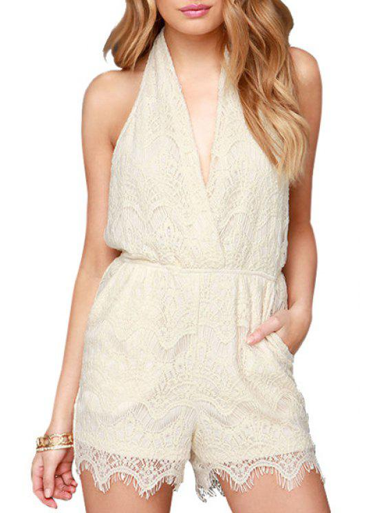 new Backless Solid Color Lace Sleeveless Romper - OFF-WHITE S