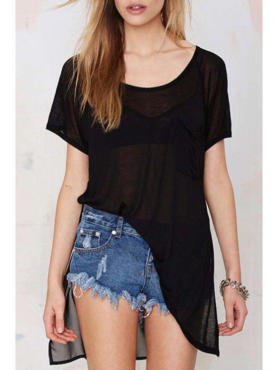 best Black Chiffon Spliced Short Sleeve T-Shirt - BLACK S