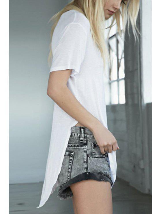 trendy Short Sleeve Solid Color Pocket T-Shirt - WHITE M