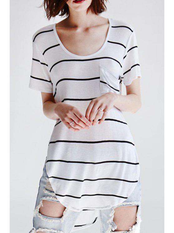 trendy Stripes Pocket Short Sleeve T-Shirt - STRIPE S