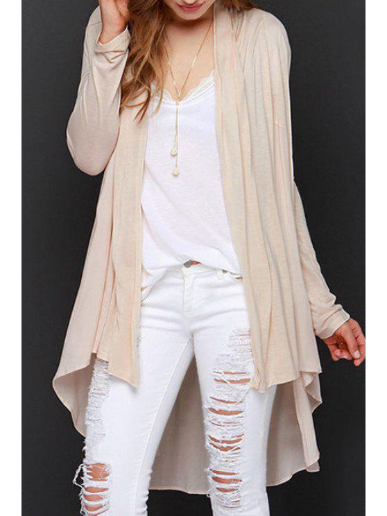 trendy Solid Color Asymmetrical Long Sleeve Cardigan - OFF-WHITE S