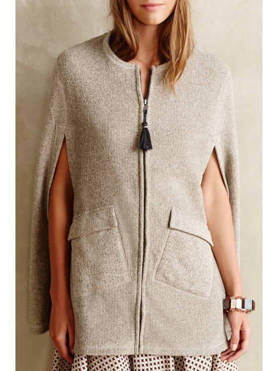 womens Two Pocket Slit Sleeveless Trench Coat - OFF-WHITE 2XL