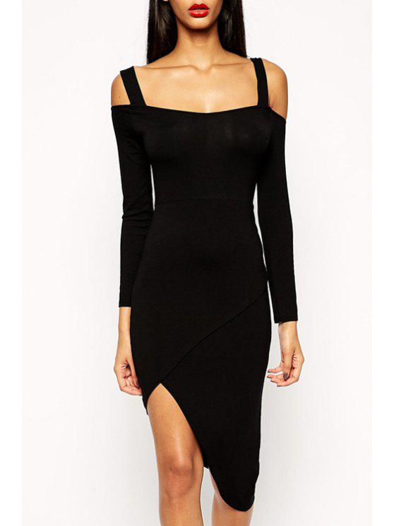 d703f9aa130 35% OFF] 2019 Backless Black Asymmetrical Long Sleeve Dress In BLACK ...