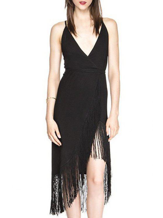 sale Backless Fringe Splicing Sleeveless Dress - BLACK S