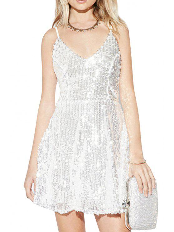 outfit Sequins A Line Spaghetti Strap Backless Dress - SILVER 2XL