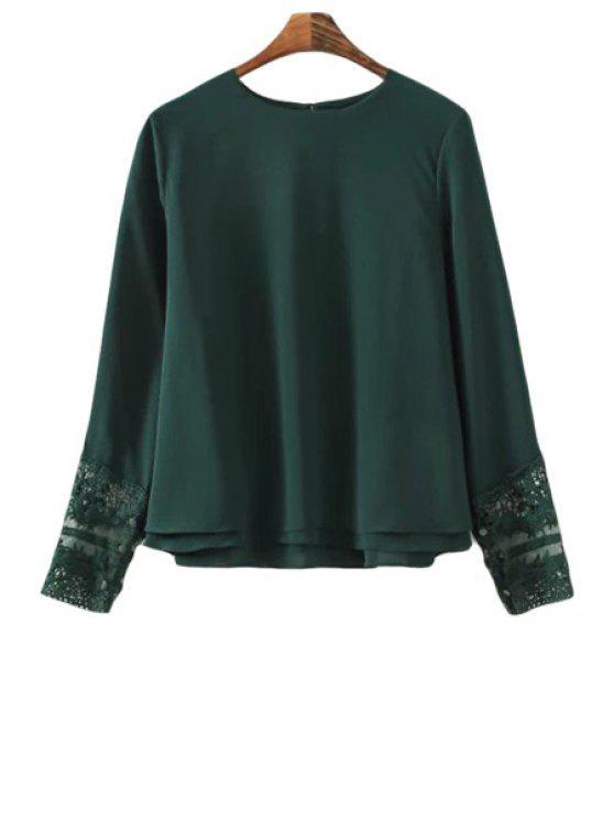 women Lace Spliced Layered Chiffon Blouse - GREEN M