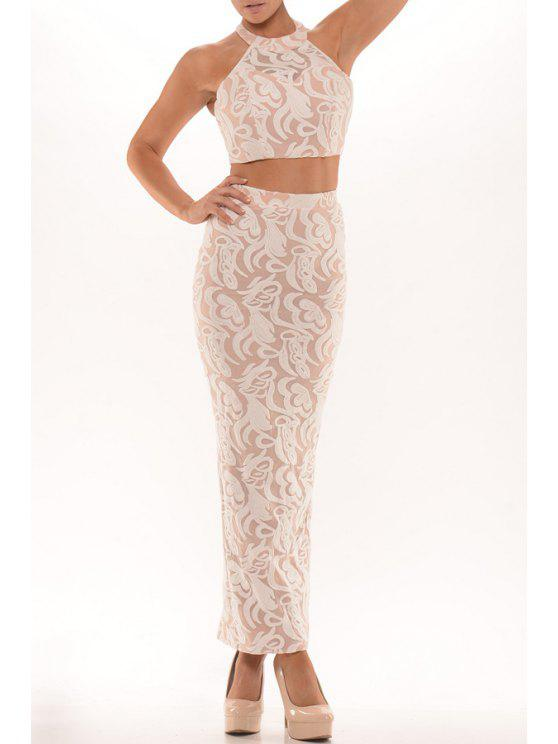 unique Halter Crop Top and Lace Bodycon Skirt Suit - PINK ONE SIZE(FIT SIZE XS TO M)