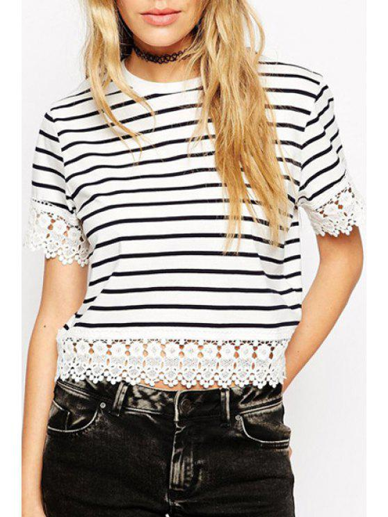 outfits Lace Splicing Stripe Short Sleeve T-Shirt - STRIPE S