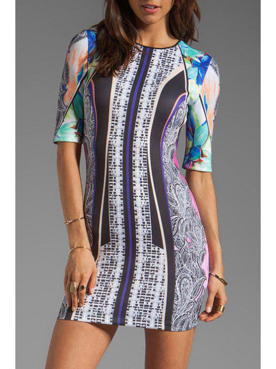 fashion Print Round Neck Half Sleeve Dress - COLORMIX M