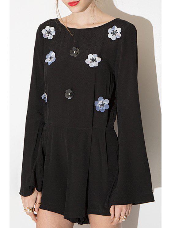shops Backless Sequins Floral Pattern Long Sleeve Romper - BLACK S
