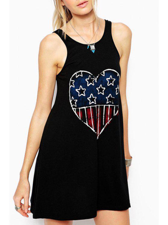 chic Scoop Neck Heart Print Backless Dress - BLACK S