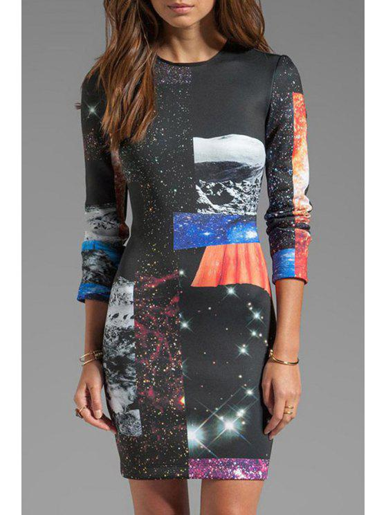 buy Galaxy Print 3/4 Sleeve Dress - BLACK L