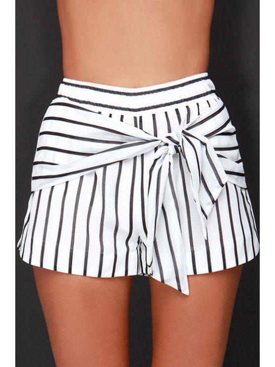 womens Black Stripe Tie Knot Elastic Waist Shorts - STRIPE S