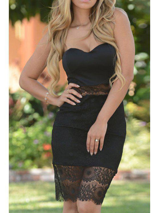 women Black Sweetheart Neck Sleeveless Dress - BLACK ONE SIZE(FIT SIZE XS TO M)