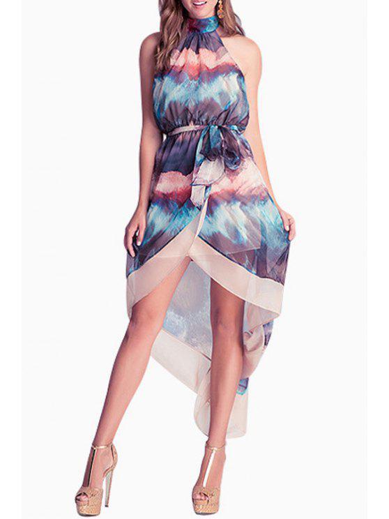 lady Print Halter High Low Chiffon Dress - PURPLISH BLUE S