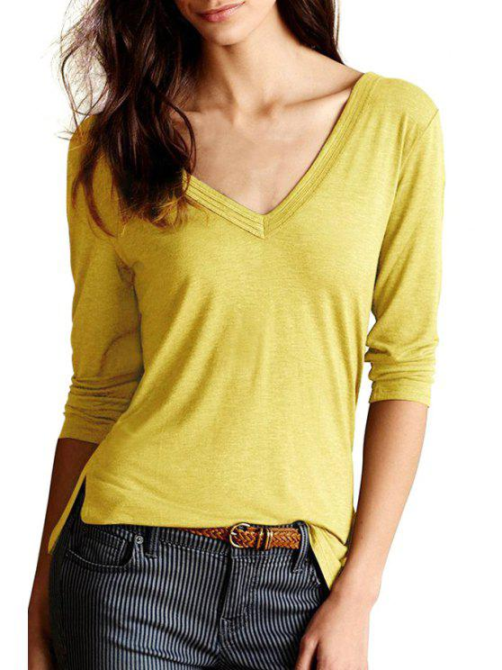 outfits V Neck Solid Color Slit 3/4 Sleeve T-Shirt - YELLOW XL