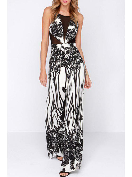 unique See-Through Black Print Sleeveless Jumpsuit - WHITE S