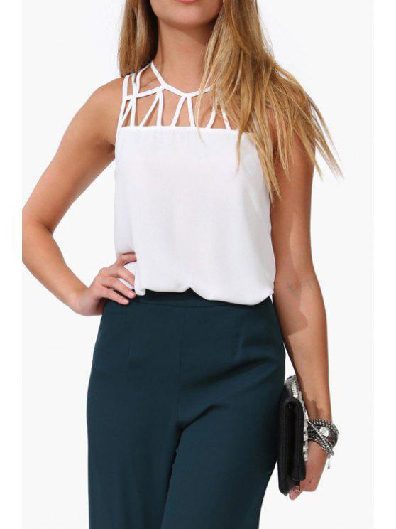 online Hollow Out Jewel Neck Tank Top - WHITE S