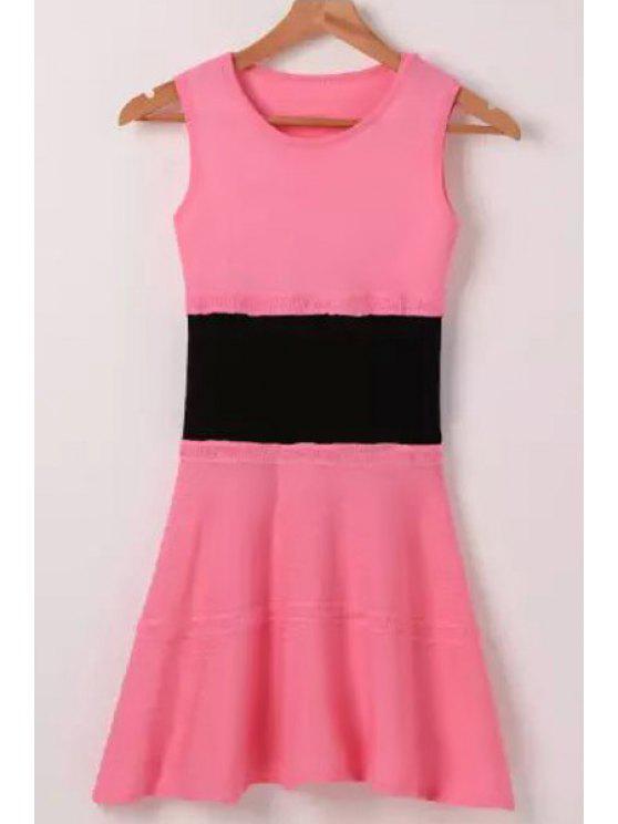 fashion Pink Black Splicing Sleeveless Dress - PINK ONE SIZE(FIT SIZE XS TO M)