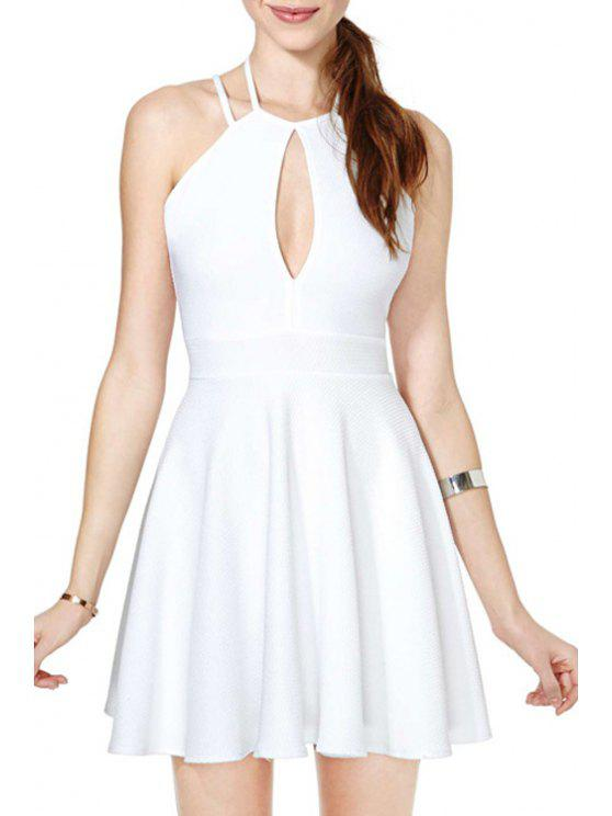 buy White Backless Keyhole Neckline Flare Dress - WHITE S