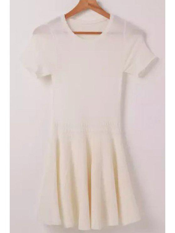 fancy Solid Color Openwork Short Sleeve Dress - WHITE ONE SIZE(FIT SIZE XS TO M)