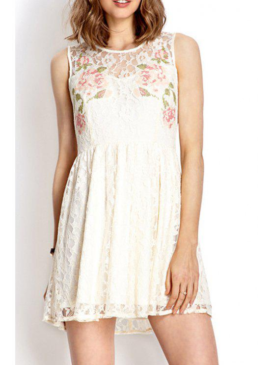 women Floral Sleeveless Lace Dress - WHITE S