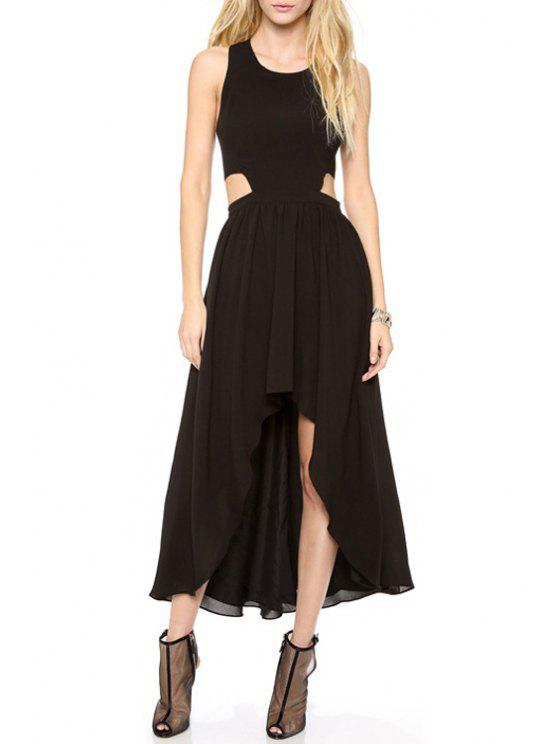 new Hollow Sleeveless Irregular Hem Dress - BLACK S