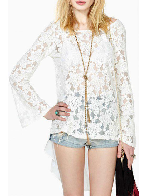shops Lace White Long Sleeve Backless Blouse - WHITE S