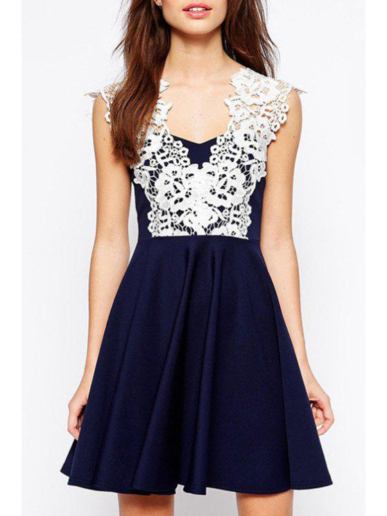 womens Lace Spliced Ruffled A-Line Mini Dress - CADETBLUE XS