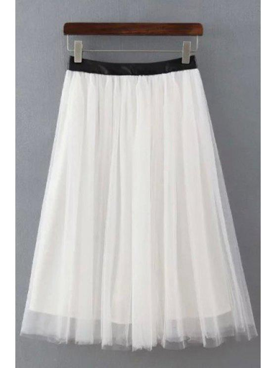 best Faux Leather Splicing Voile Skirt - WHITE S
