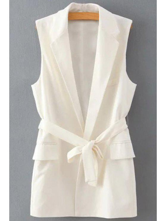 unique Lapel Solid Color Belt Sleeveless Waistcoat - WHITE S