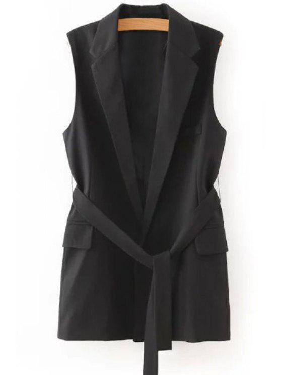 lady Lapel Solid Color Belt Sleeveless Waistcoat - BLACK L