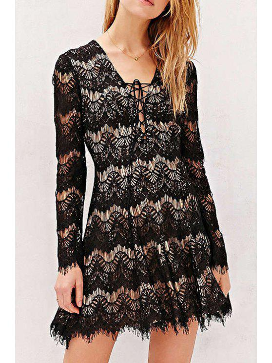 chic Lace Plunging Neck Long Sleeve Flare Dress - BLACK XL