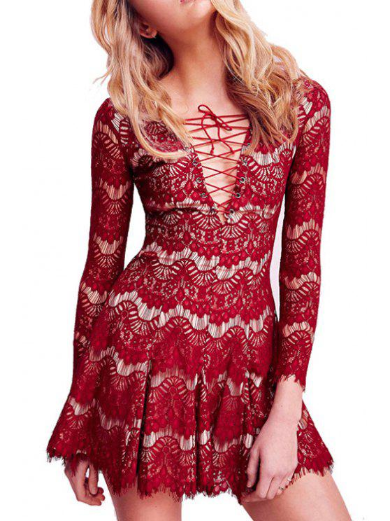 Lace Plunging Neck Long Sleeve Flare Dress Red L