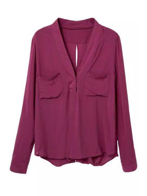 shops V Neck Back Cross Slit Long Sleeve Shirt - PURPLISH RED L