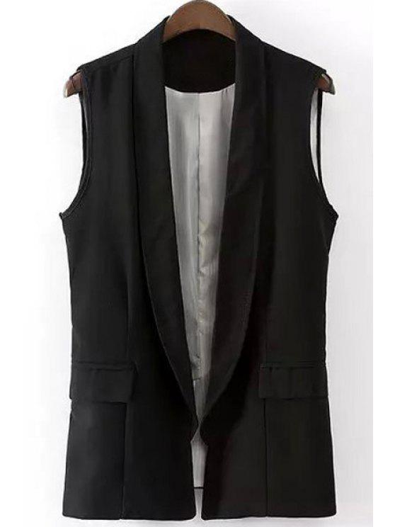 womens Shawl Collar Solid Color Waistcoat - BLACK S