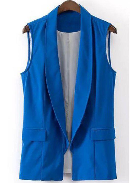 shops Shawl Collar Solid Color Waistcoat - BLUE M