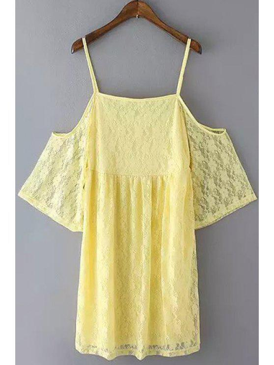 chic Spaghetti Strap Solid Color Backless Short Sleeve Dress - YELLOW S