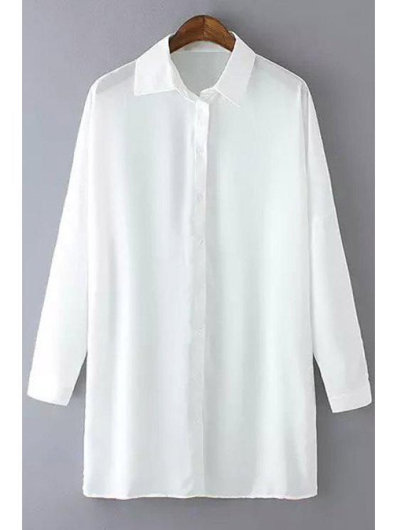trendy Loose-Fitting Solid Color Long Sleeve Shirt - WHITE S
