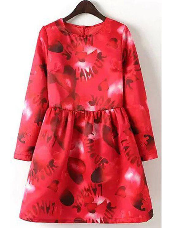 ladies Heart Lettern Print Long Sleeve Dress - RED S