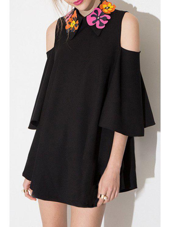 best Black Loose-Fitting Hollow Dress - BLACK S