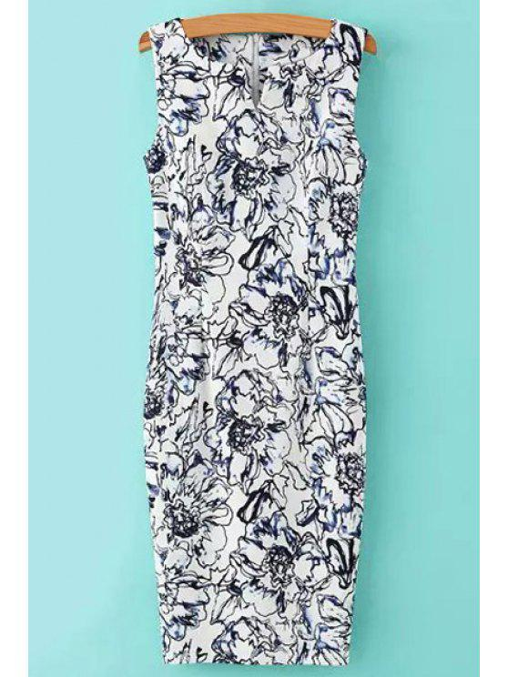 outfit V-Neck Floral Pattern Sleeveless Dress - AS THE PICTURE S