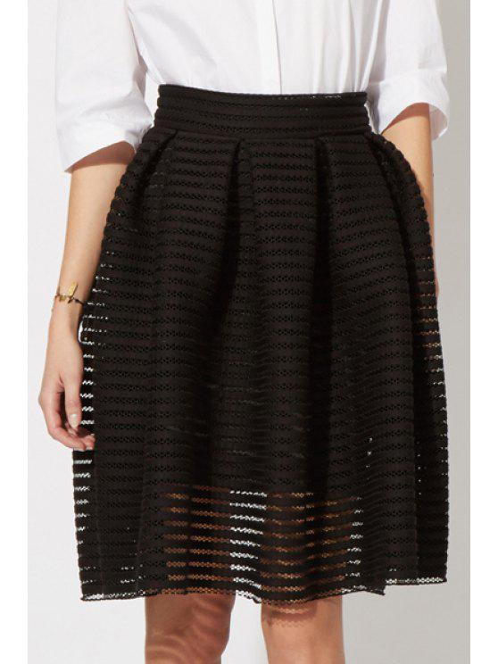 fancy Ruffled See-Through Ball Gown Skirt - BLACK M
