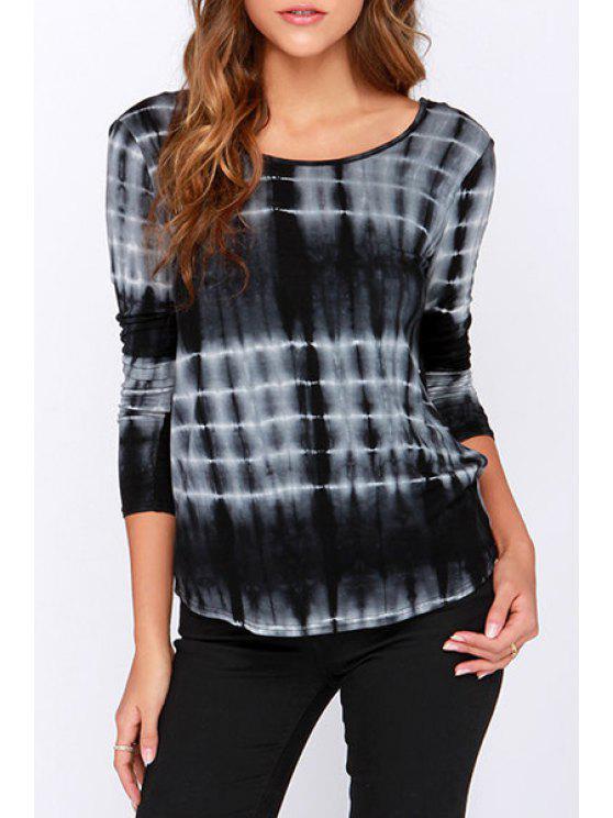 best Tie-Dyed Stripes Open Bcck T-Shirt - BLACK S