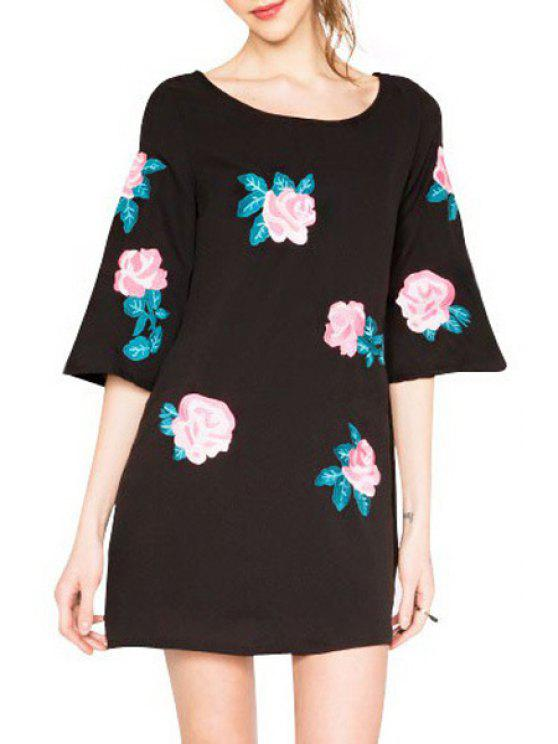 fashion Rose Embroidery Loose-Fitting Dress - BLACK M
