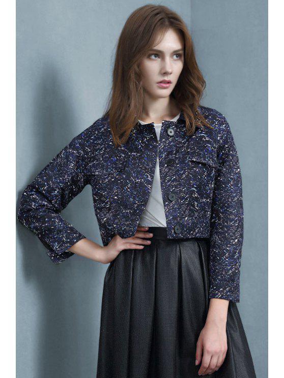 outfits Color Mixed Printed Long Sleeve Jacket - PURPLISH BLUE S
