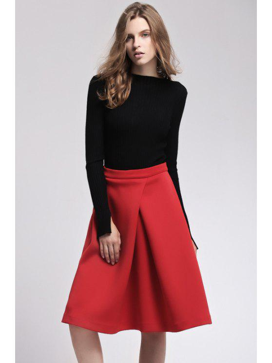 best Solid Color Ruffle Midi Skirt - RED S