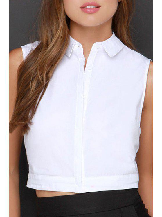 sale Solid Color Single-Breasted Cut Out Crop Top - WHITE S